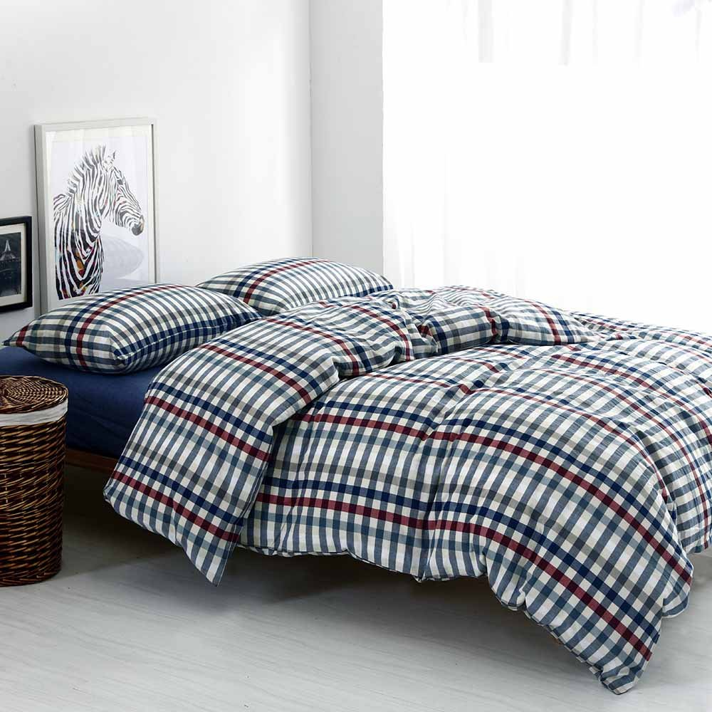 (EnjoyBridal) 寝具カバーセット 布団カバー 4点セット ダブル 掛け布団カバー ボックスシーツ 枕カバー チェック ヨーロッパ風 ウォッシュコットン 100綿 四節適用 ネイビー ベッド用 ダブル B06XCJHH51 ネイビー1 ベッド用 ダブル
