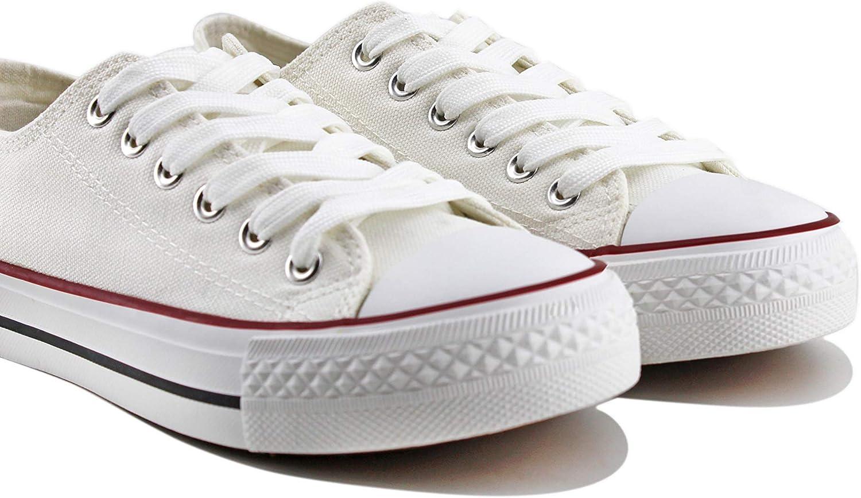 Modelisa - Zapatillas Lona Plataforma Baja Mujer (36, Blanco ...