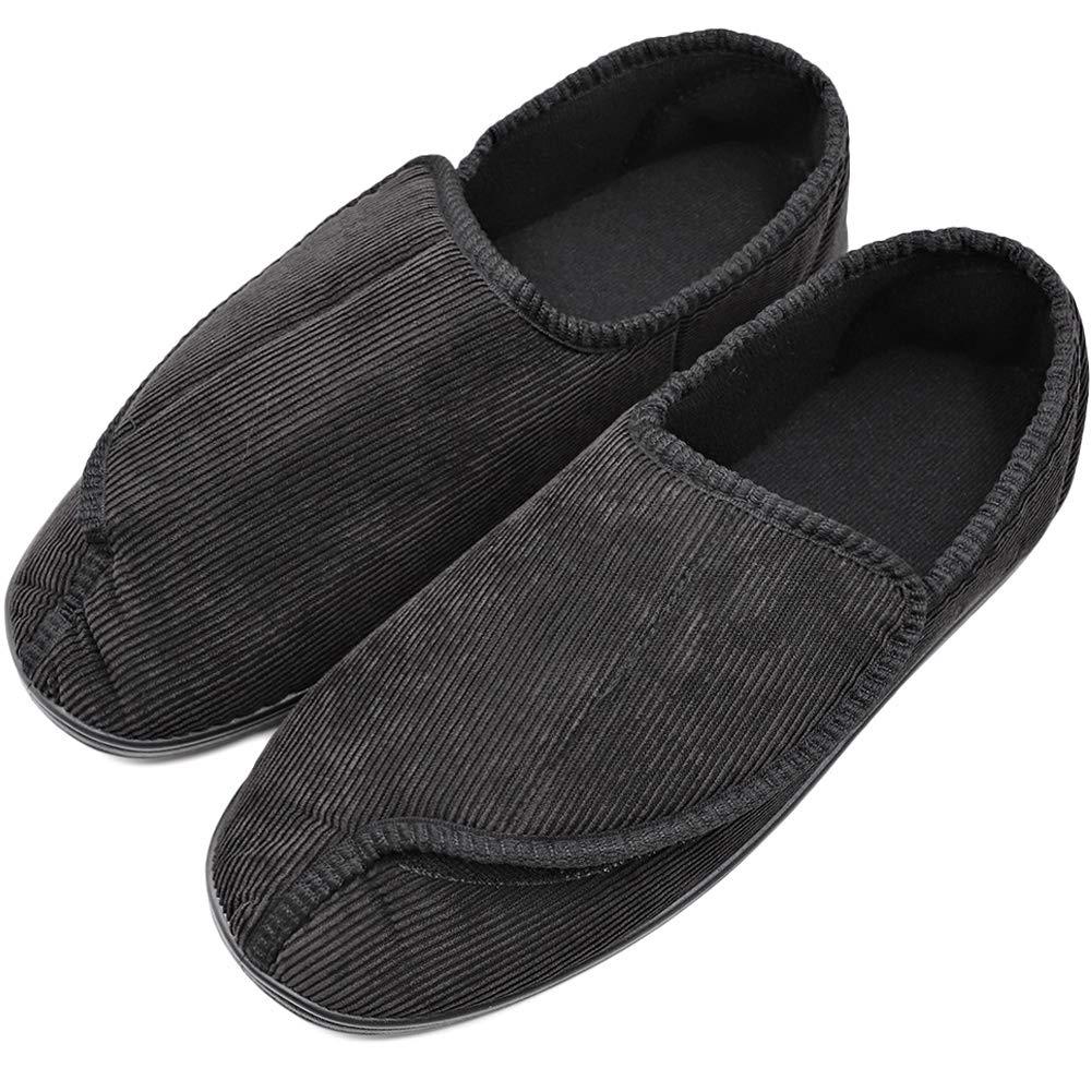 Men's Diabetic Orthopedic Shoes Memory Foam Cozy Warm Slippers Coral Fleece Adjustable House Footwear Wide Fit Cushioned for Swollen Edema (13, Comfy - Black)
