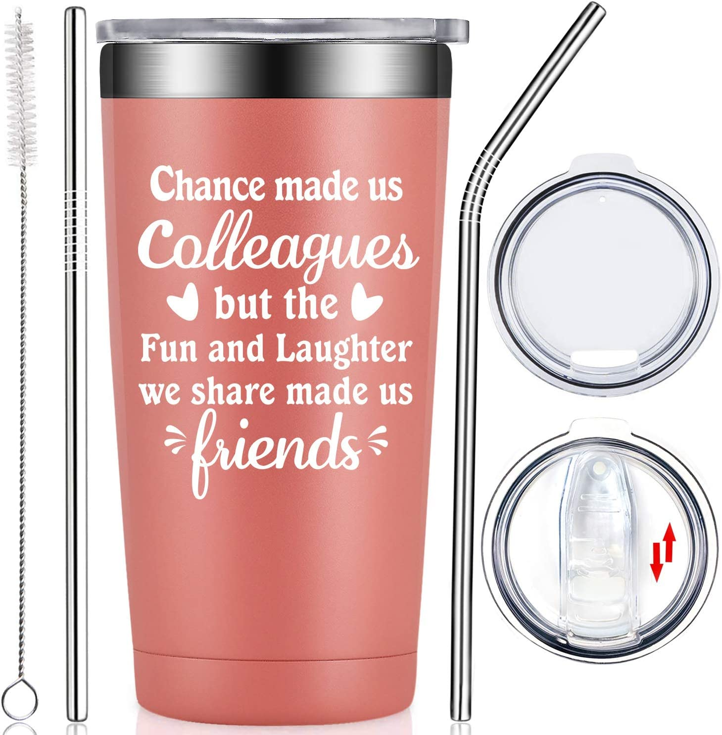 Fufendio Coworker Gifts for Women - Coworker Leaving, Going Away, Goodbye, Farewell, New Job, Friendship, Christmas, Birthday Present for Colleague Boss Employees Co-worker Friends Wine Tumbler Cup