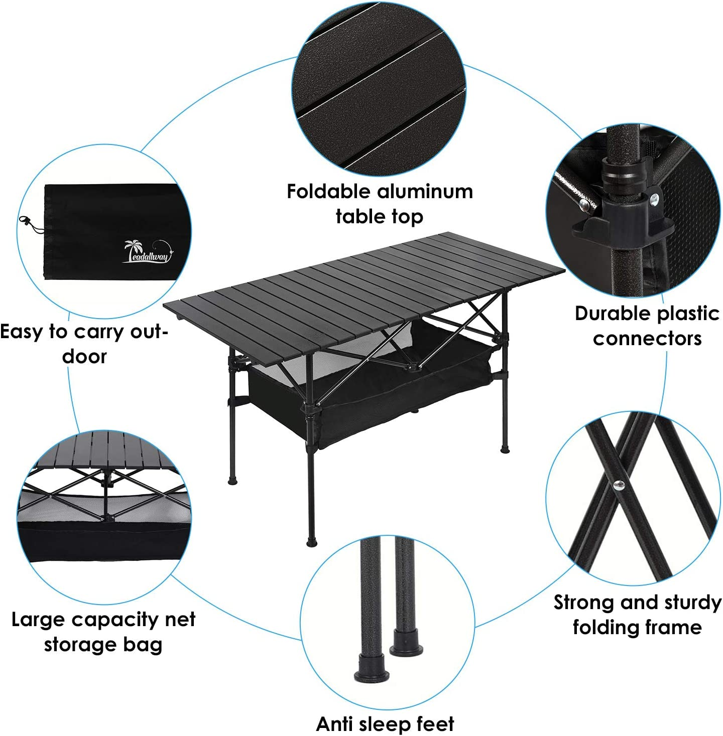 BBQ Outdoor Folding Camping Table Fishing Collapsible Beach Table for Outdoor Camp Picnic Travel Portable Aluminum Folding Table with Large Storage Organizer and Carrying Bags