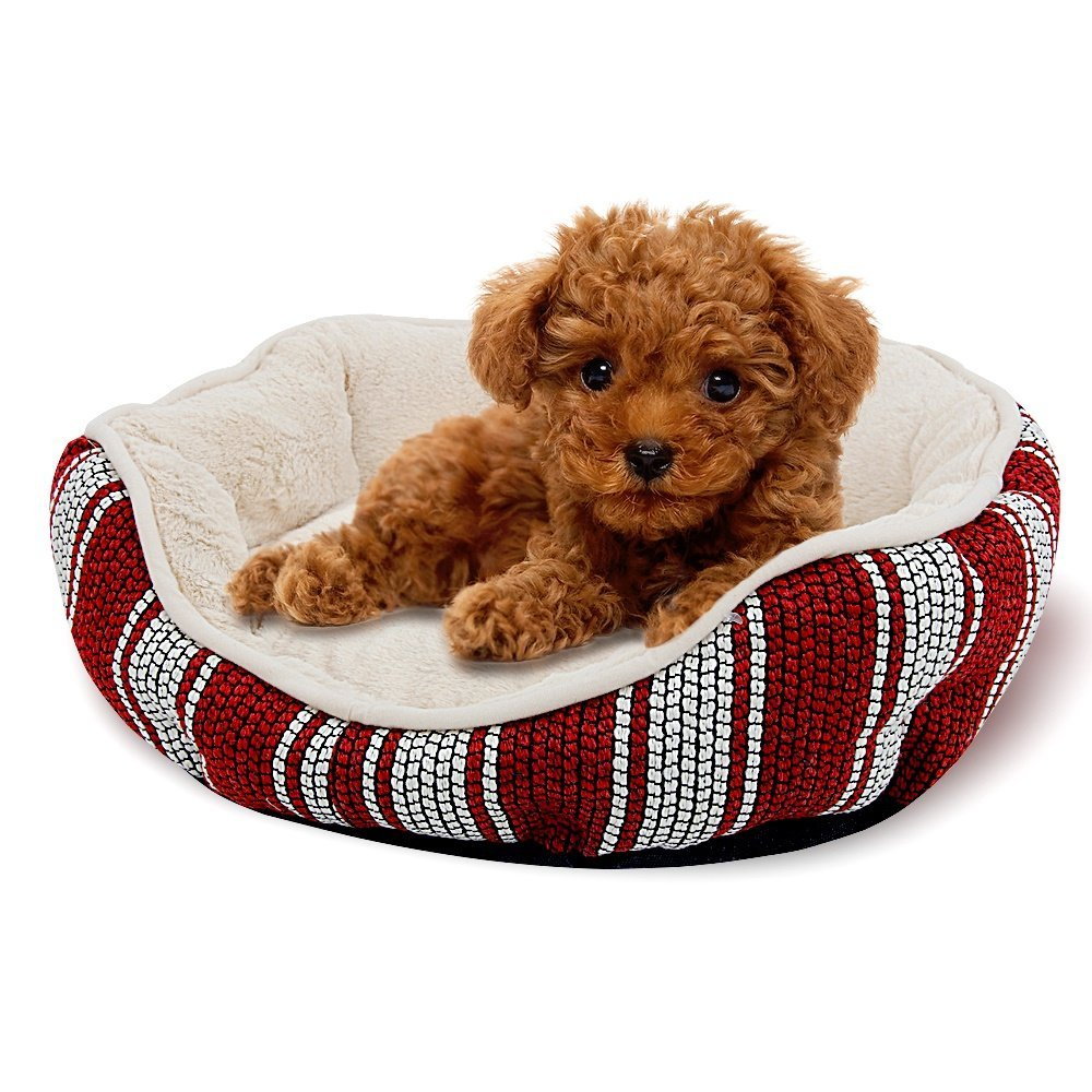Red and white Premium Dog's Bed, New Striped Circle Dog Bed Pet Sofa Pet Bed Circle Mattress (color   Red and White) (color   Red and White)