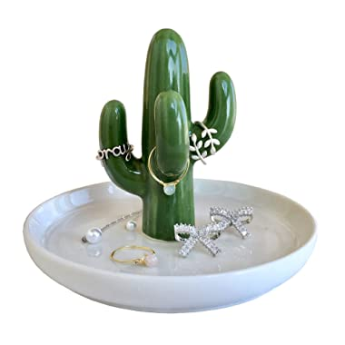 FairyLavie Cactus Ring Holder Dish for Jewelry, Ceramic Succulent Ring Holders Organizer Display for Home Decor and Birthday Wedding Festival Gifts for Mom, Aunt, Friends, Girlfriend (Green Cactus)