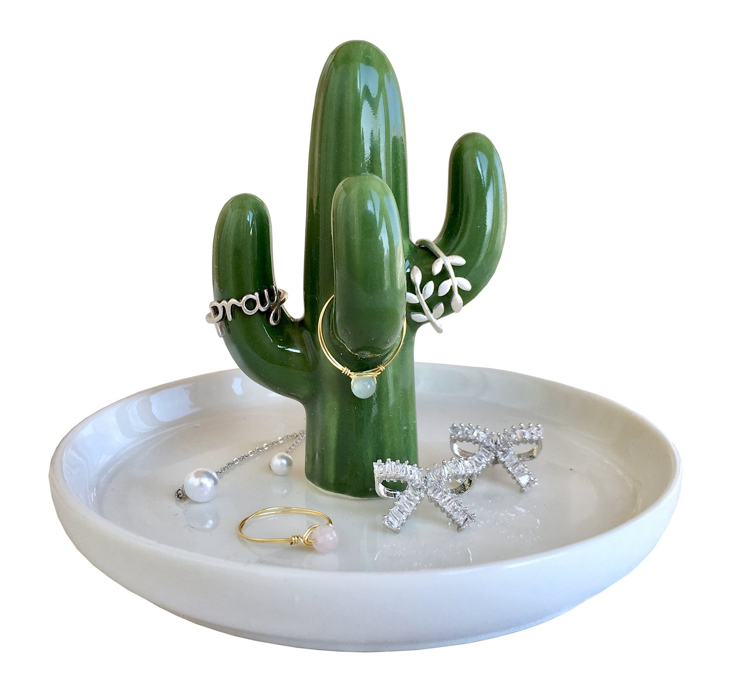 RaseHouse Cactus Ring Holder Dish for Jewelry Necklace Bracelet Holders Organizer Display Home Decor Birthday Wedding Christmas Gift for Mom, Friend, Girlfriend (Green)
