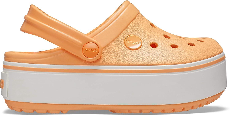 Cantaloupe Crocs Unisex-Kids Crocband Platform Clog C13 M US Little Kid