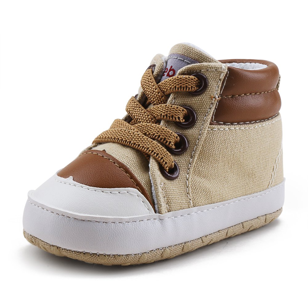 Delebao Infant Toddler Baby Lace up Soft Sole High-top Suede Warm Sneakers Snow Boots (12-18 Months, Coffee)