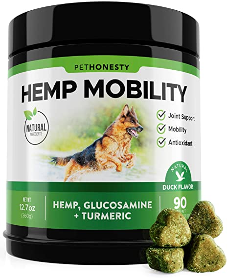 PetHonesty Hemp Hip & Joint Supplement for Dogs w/Hemp Oil + Hemp Powder -  Glucosamine Chondroitin for Dogs w/Turmeric, MSM, Green Lipped Mussel, Dog