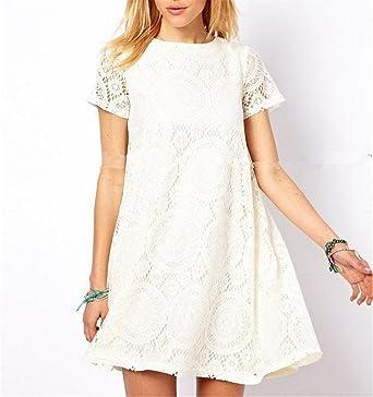 Baqijian Women\'s Lace Crochet Dress Ladies Short Sleeve O ...