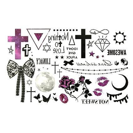 Oottati Tatuajes Temporales Halloween Cruz Diamante Luna Triángulo (2 hojas)