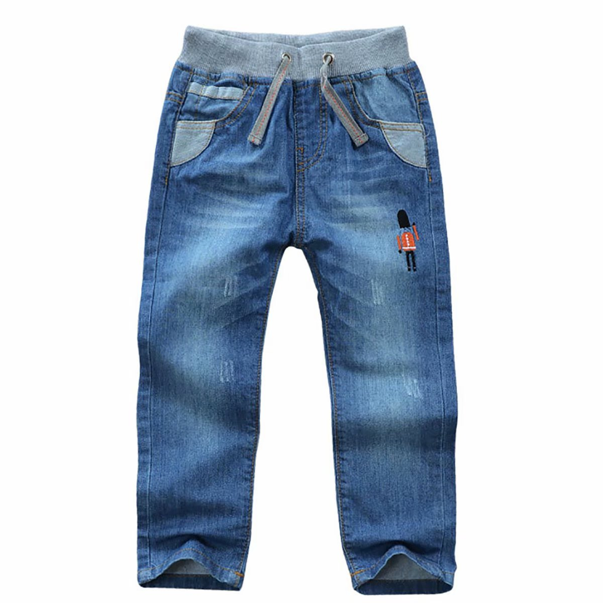 BiSHE Boys Girls Denim Jeans Trousers Toddler Pants Printed Pocket
