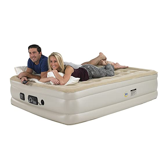 Amazon.com: Serta Raised Queen Pillow Top Air Mattress with Never Flat Pump: Sports & Outdoors