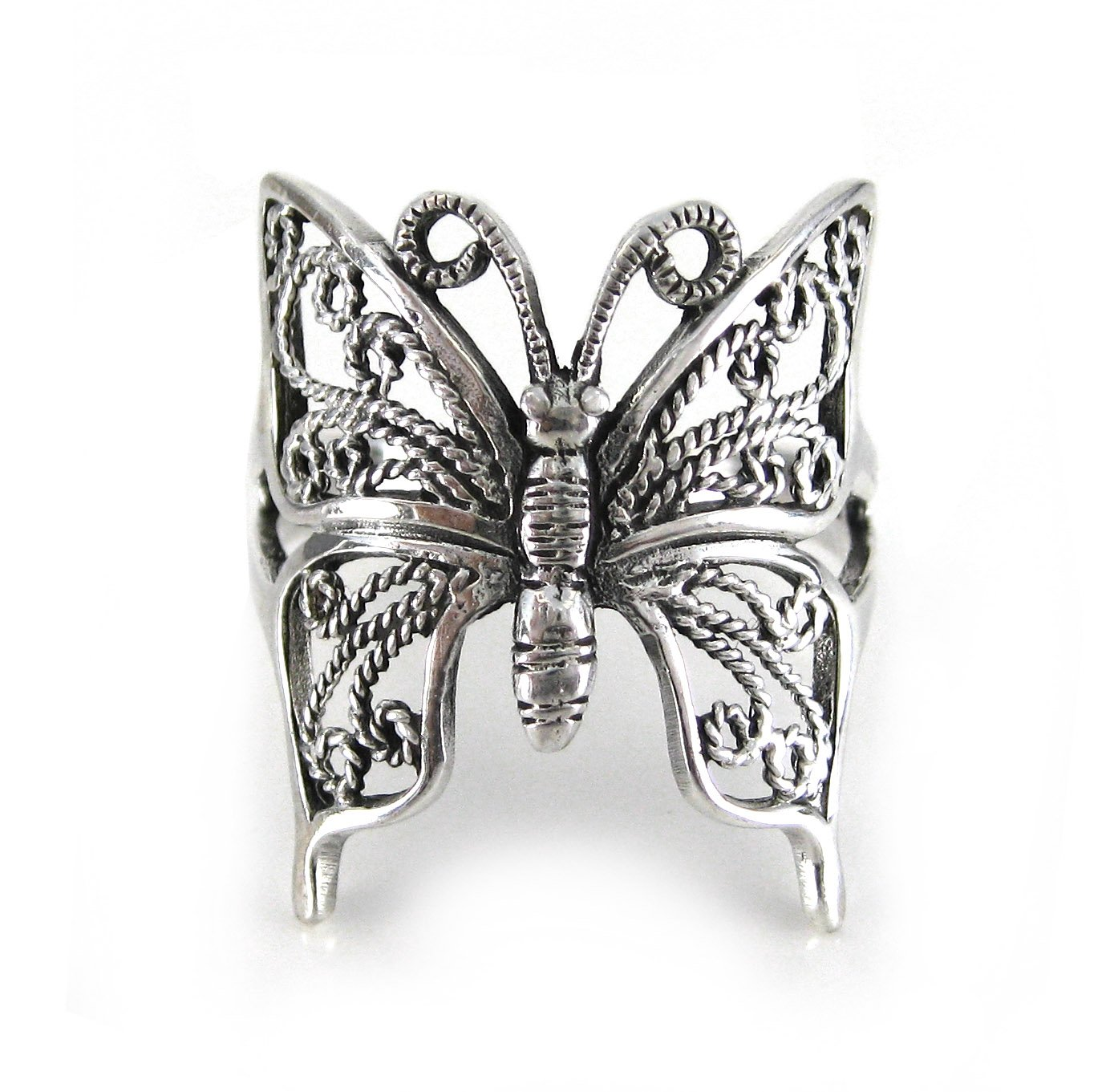 Sterling Silver Filigree Butterfly Ring, Size 6