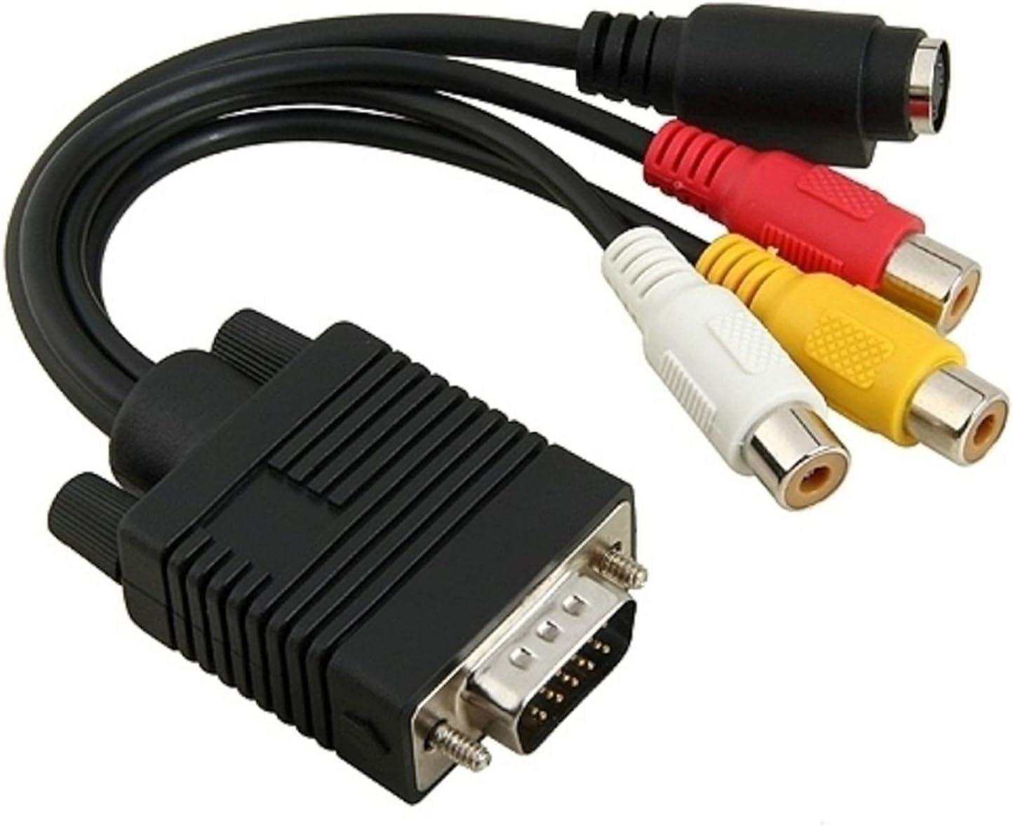 Goodlucking - Cable adaptador VGA a RCA para TV, S-Video 3 ordenador, AV: Amazon.es: Electrónica