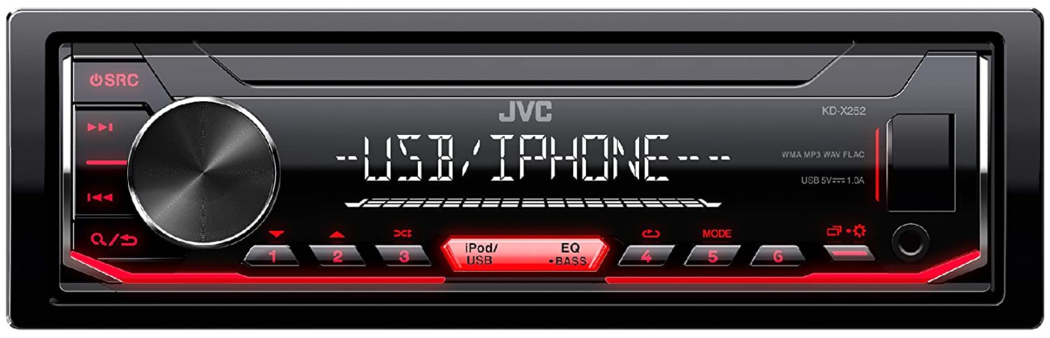 Amazon.com: JVC KD-X252 Single DIN USB Aux FM AM Radio Digital Media Car Stereo (No CD): Car Electronics