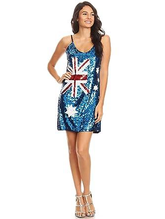 Anna-Kaci Damen Pailletten verziert Australische Flagge inspirier ...