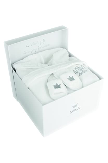BAM BAM - Caja de regalo (1 albornoz y 1 par de zapatillas para baño, 100% algodón) blanco blanco Talla:74-80