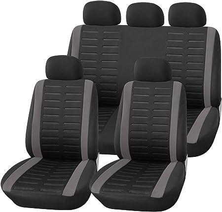 Upgrade4cars Auto Sitzbezüge Set Universal Auto Schonbezüge Schwarz Grau Mit Teilbarer Rückbank Auto Zubehör Innenraum Auto