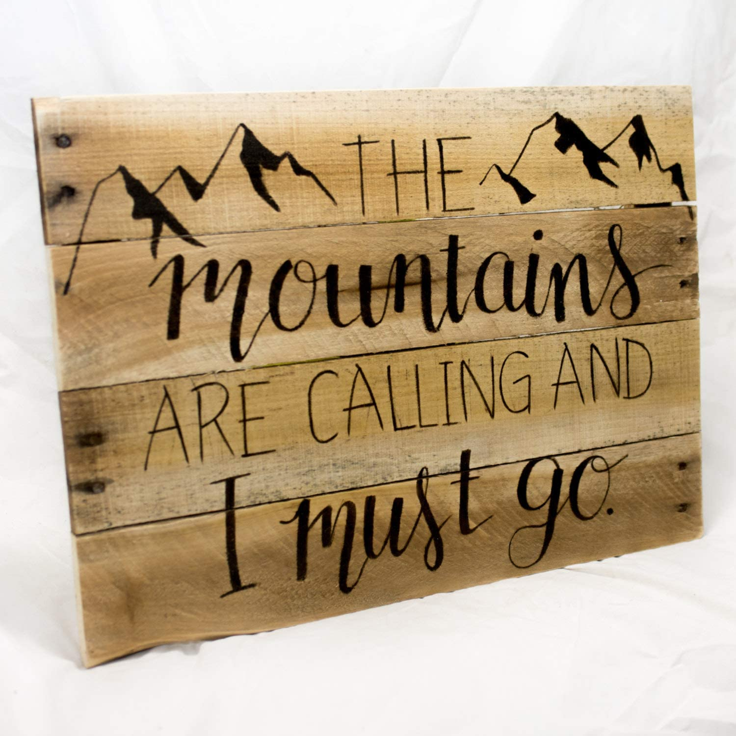 Wall Art The Mountains are Calling Large Wood Sign for Mantel, Mountain Style Rustic Home Decor for Hiker Wood Plaque, Custom Gift