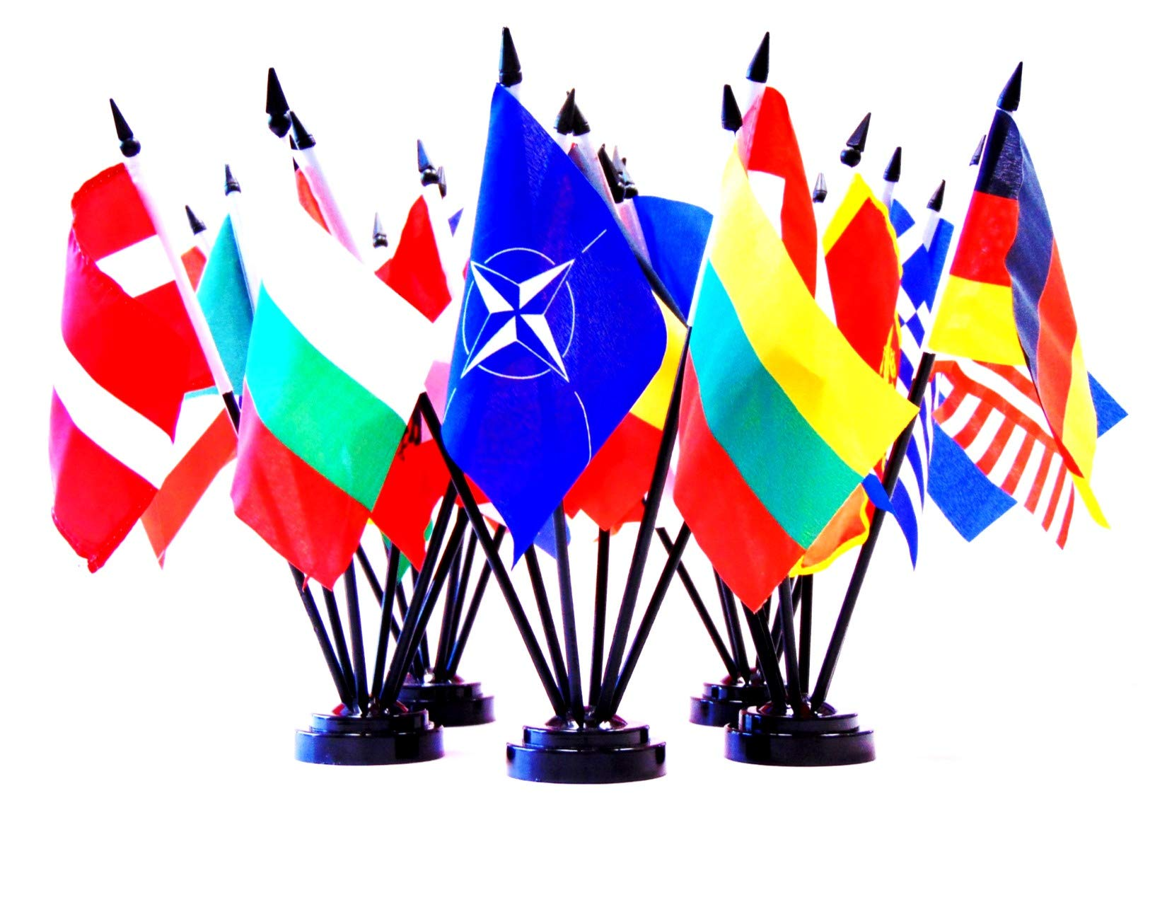 North Atlantic Treaty Organization (NATO) World Flag Set with BASES-30 Polyester 4''x6'' Flags, One Flag for Each Country in NATO, 4x6 Miniature Desk & Table Flags, Small Mini Stick Flags