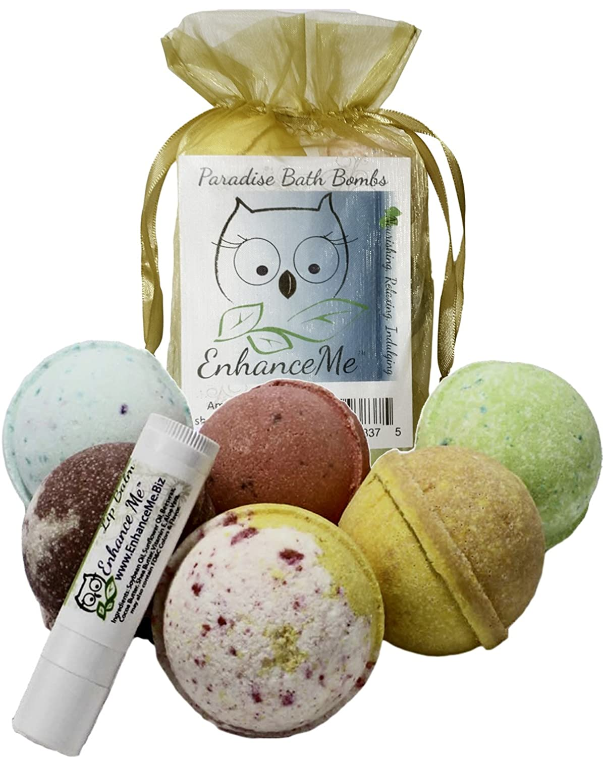 Bath Bombs, w/FREE Lip Balm Easter Gift Set, Organic Sustainable Palm Oil, from Enhance Me, Handmade in USA with Lush Shea Butter, Coconut Oil, 6 Bomb Gift Set, 'See, Smell, & Feel the Difference'