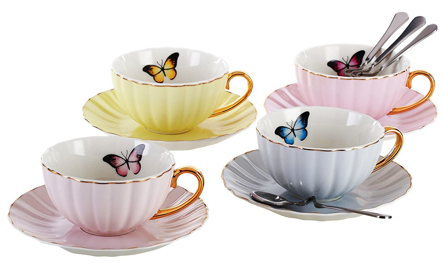 Jusalpha Elegant Tea Cup and Saucer Set-Coffee Cup Set with Saucer and Spoon FD-TCS03-4COLOR SYNCHKG072301