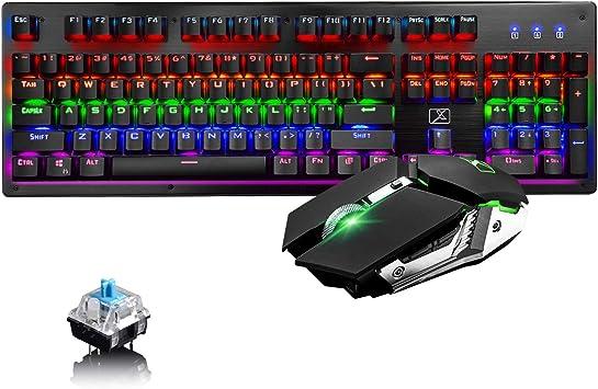 Juego de Teclado y Mouse mecánico inalámbrico para Juegos, Capacidad de, Teclado mecánico para Juegos con Interruptor Azul de Modo Dual con 6 ...