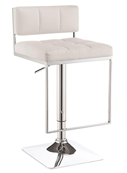 Prime Coaster Contemporary Adjustable Bar Stool With Leatherette Upholstered Seat White Gmtry Best Dining Table And Chair Ideas Images Gmtryco