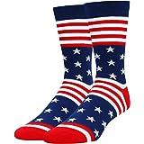 Men Funny Sports Golf Bicycle Baseball Socks, Novelty Poker USA Flag Book Gift