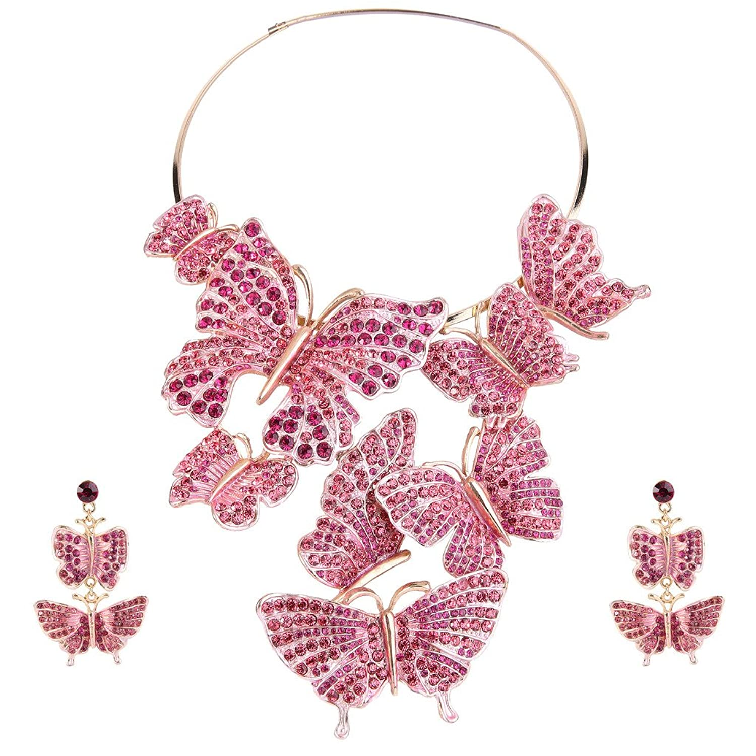 EVER FAITH® Austrian Crystal Butterfly Jewelry Set Pink Gold-Tone