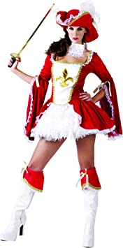 Generique - Disfraz de mosquetera roja para Mujer M/L: Amazon.es ...