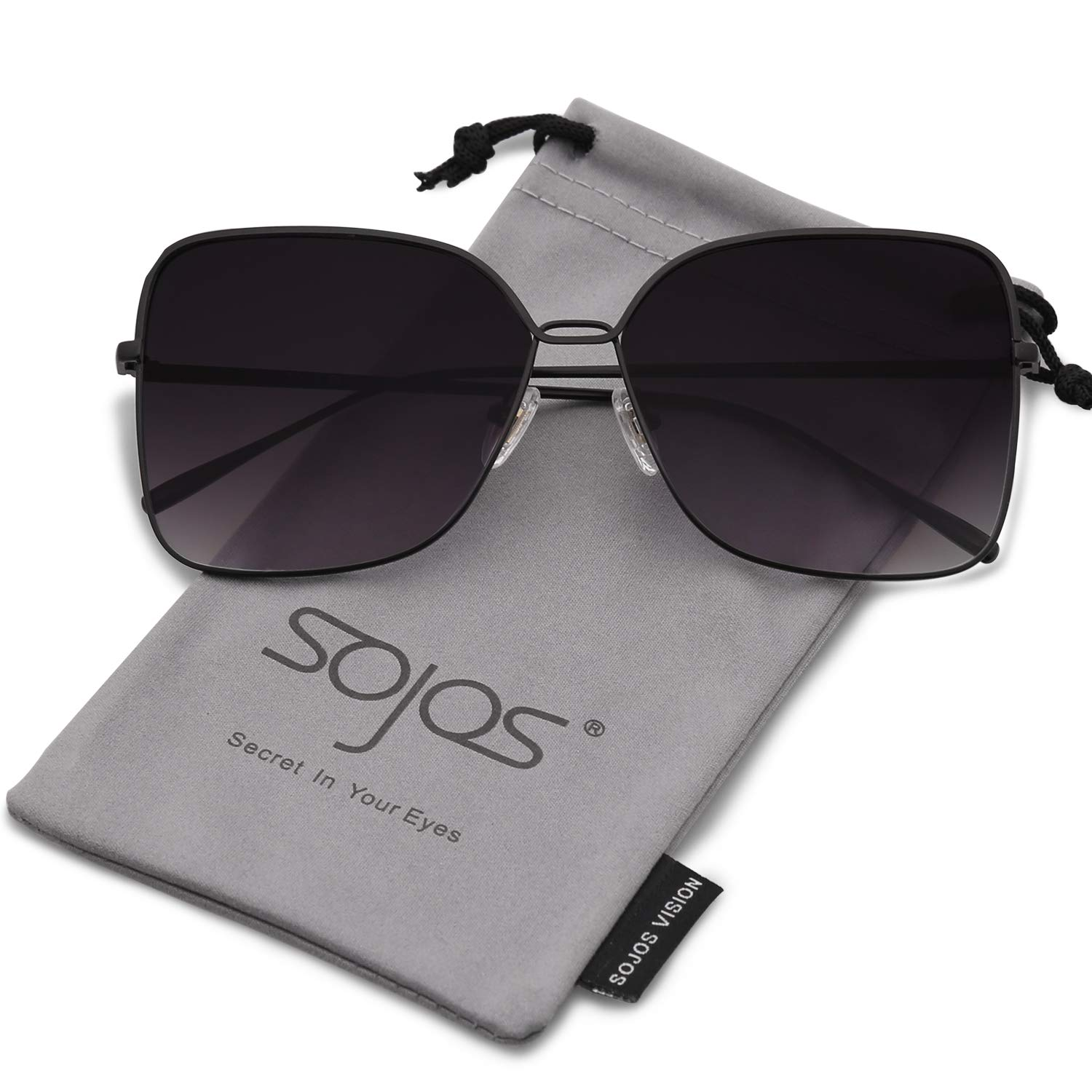 SOJOS Fashion Square Oversized Sunglasses Metal Frame Flat Mirrored Lens SJ1082 with Black Frame/Gradient Grey Lens by SOJOS