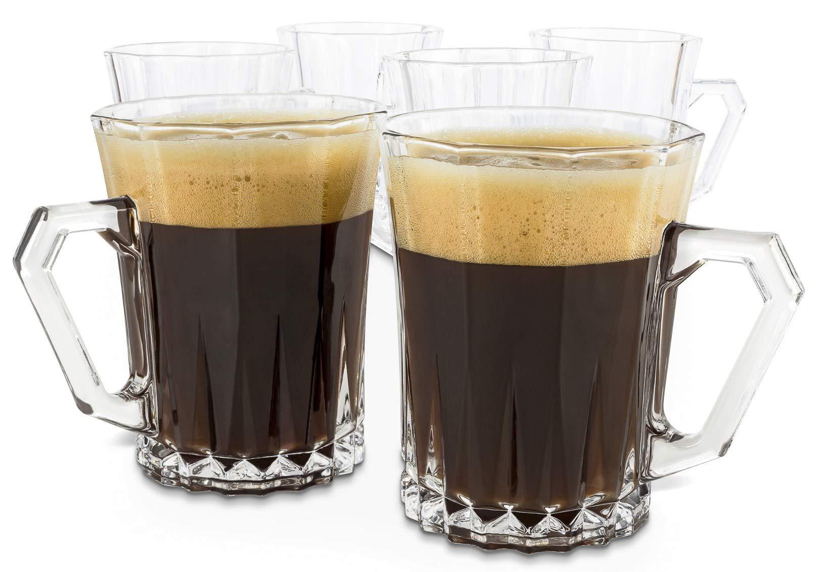 Bezrat Luxury Cappuccino Glass Coffee Tea Cups with Handle [Set of 6] Tempered Glass Espresso Cups - Latte Mugs 9 Ounces Espresso Cappuccino