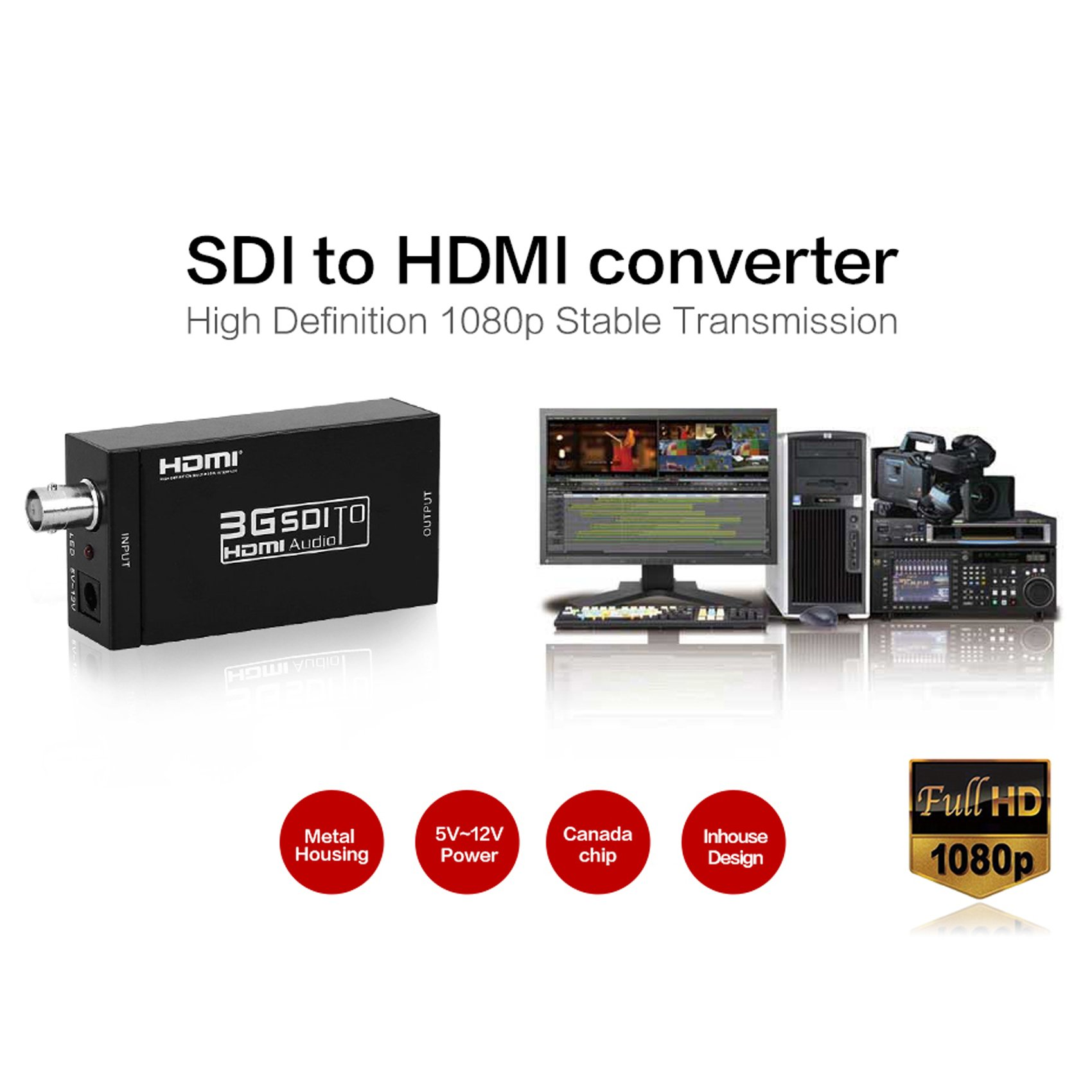 Basicolor SDI to HDMI Converter Mini 3G SDI HDMI Adapter with BNC Coaxical Support Full HD 1080p SD-SDI/HD-SDI/3G-SDI to HDMI Adapter Mini HD Video Convert for Camera PC Home Theater (Black) by Basicolor (Image #1)