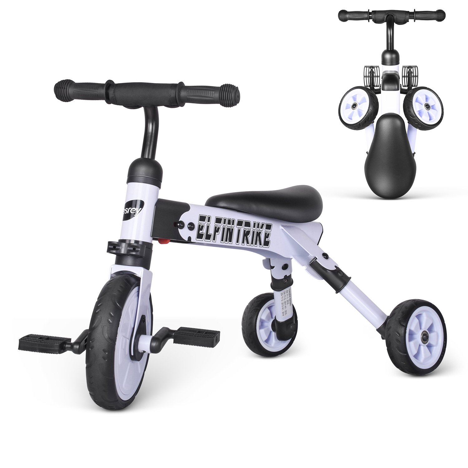besrey Toddler Tricycle 2 In 1 Trike Baby Balance Bike Foldable Kids Riding Toys for Ages 12 Months Old and up Boys or Girls