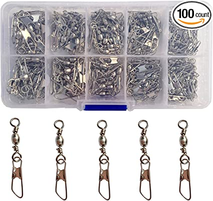 100Pcs Fishing Barrel Bearing Swivel Stainless Steel Solid Ring Connector Lots