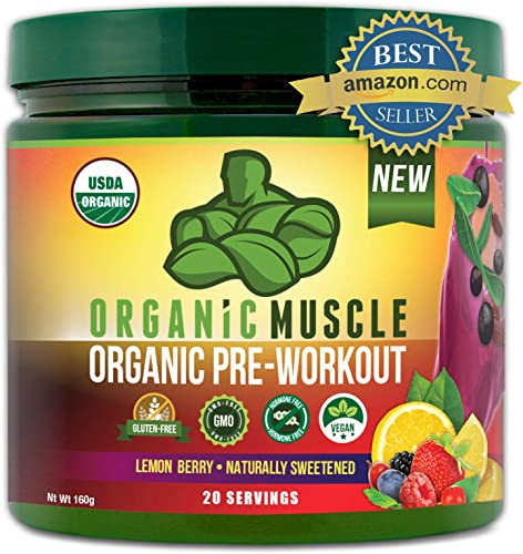 Organic Muscle 1 Rated Organic Pre Workout Powder-Natural Vegan Keto Pre-Workout Organic Energy Supplement for Men Women- Non-GMO, Paleo, Gluten Free, Plant Based -Lemon Berry -160g