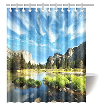 InterestPrint Landscape Shower Curtain Mountain And Convict Lake With Reflections In Yosemite Countryside Scene Fabric