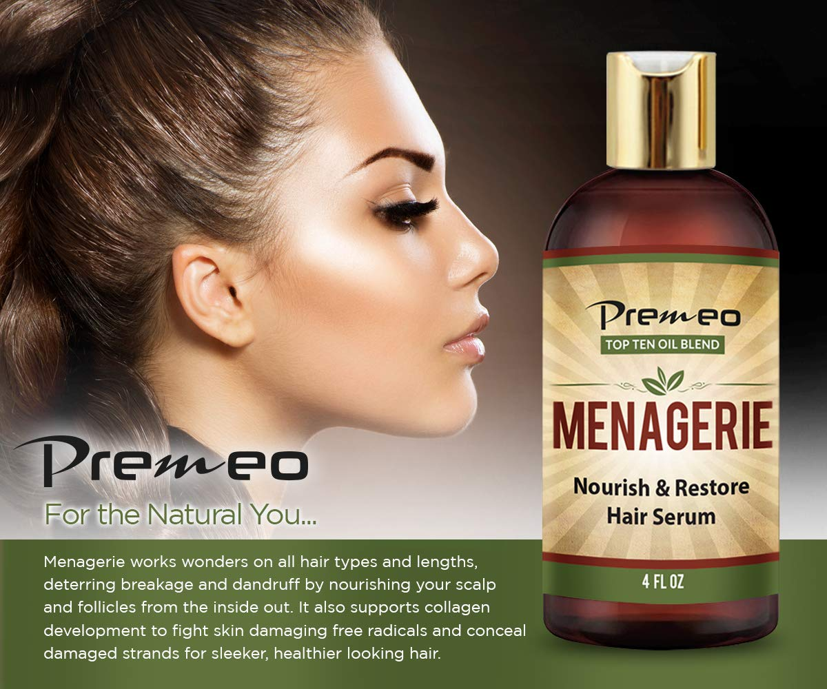 Menagerie Hair Growth Serum - Top Ten 100% Natural Oils For Thicker Stronger Softer Hair Including Organic Castor, Sweet Almond, Avocado, Grapeseed, Coconut Aragon, Jojoba, Rosemary (4 oz) by Premeo (Image #8)
