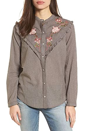 4f14bf49 Image Unavailable. Image not available for. Color: Lucky Brand Women's  Embroidered Western Shirt Grey/Multi Medium