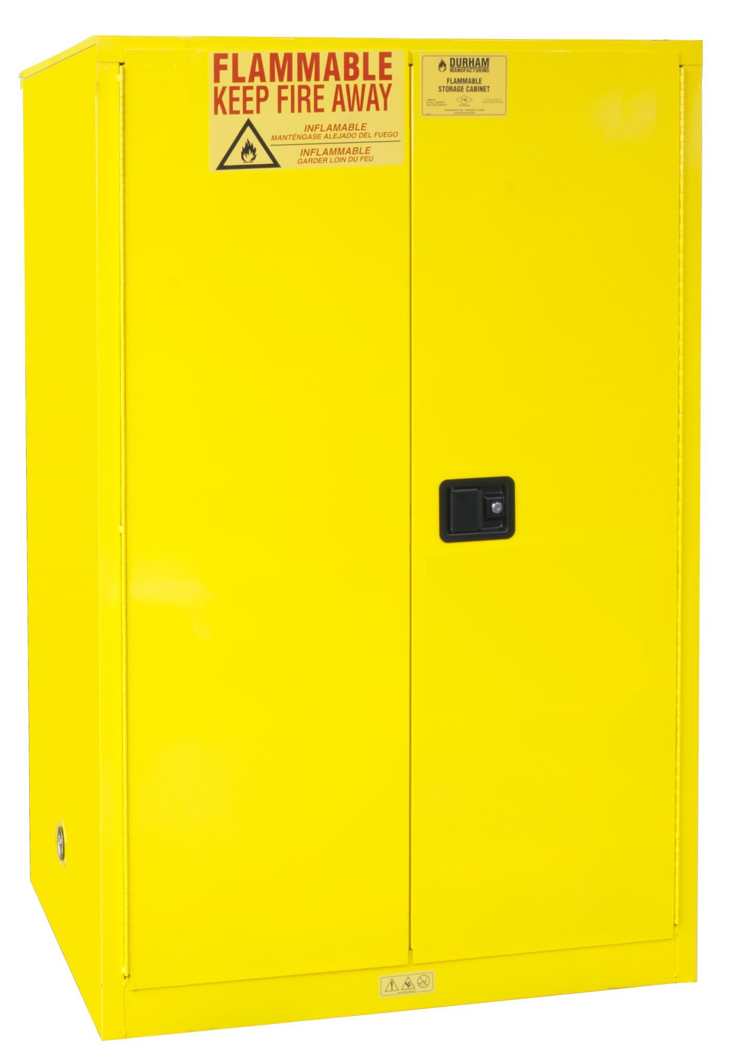 Durham FM Approved 1090M-50 Welded 16 Gauge Steel Flammable Safety Manual Door Cabinet, 2 Shelves, 90 gallons Capacity, 34'' Length x 43'' Width x 65'' Height, Yellow Powder Coat Finish