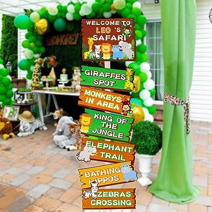Amazon.com: Safari Jungle Animals Señales de fiesta animales ...