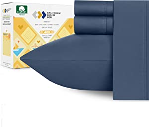 """RV Short Queen Indigo Navy Blue Sheets for Motorhomes & Camper Beds, 4-Piece 400 Thread Count Cotton Sheets, Long Staple Cotton Sateen Weave for Soft Silky Feel, Fits 16"""" Deep Pocket Mattress"""