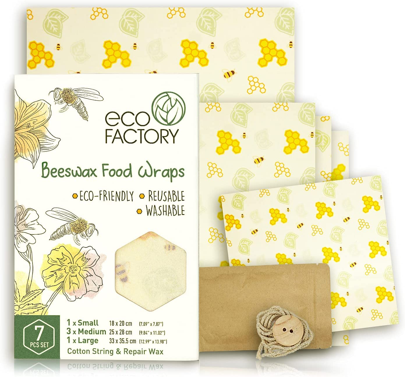 ECO FACTORY Beeswax Food Wraps Set of 5 incl. Accessories - All-Natural Wrap for Food Storage - Wax Wrap - Bowl Covers - Beeswax Paper - Organic, Reusable, Washable and Sustainable - Certified