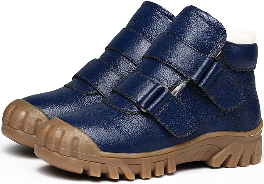 VILOCY niño Impermeable Cuero Zapatillas Pelaje Forrado Tobillo Botas Resbalón en Nieve Botas Zapato