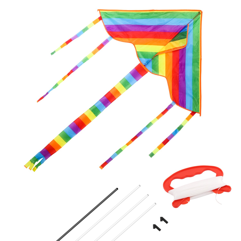 Zooawa 大きなレインボー三角形カイト シングルライン凧 アウトドアアクティビティ 楽しい遊びおもちゃ 子供と大人用 カラフル B07C5GFCM5