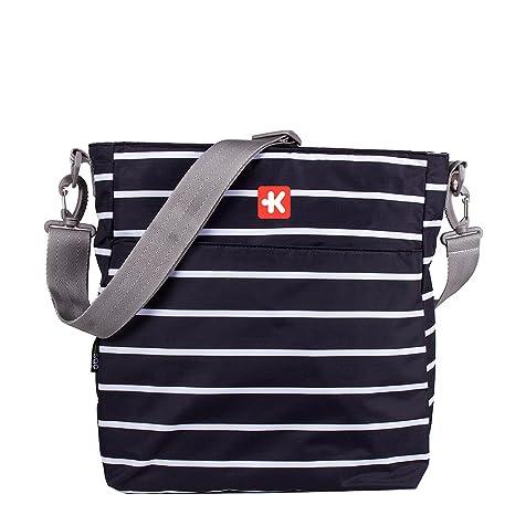 Kiwisac Happy Trip Bolso de Silla de Paseo Unisex con un Diseño Estampado de Rayas/Bolso para Carro Bebé para Pañales con Bandolera Ajustable, Color ...