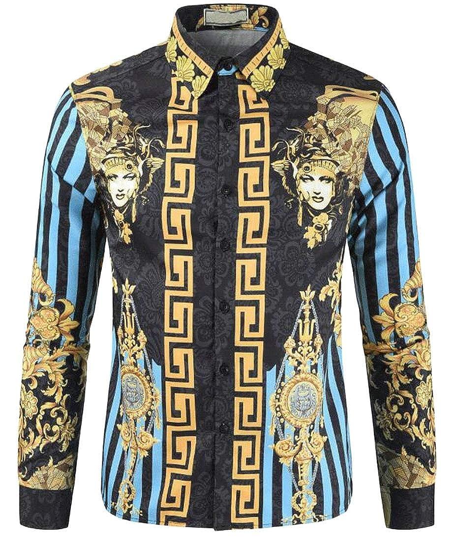 OTW Men Long Sleeve Button Up Vintage 3D Print Court-Printed Casual Shirt Blouse Top