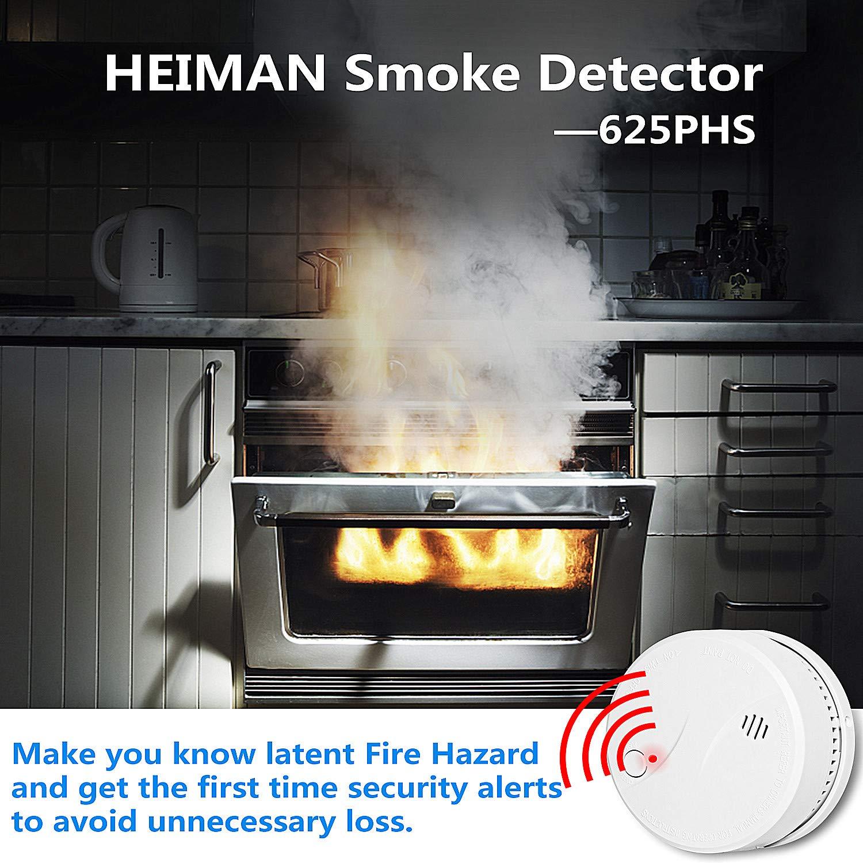 Heiman 10 años VDS EN14604 CE Certificado inalámbrico Alarma de Humo con batería de Litio Seguridad en el hogar y Sensor fotoeléctrico de Seguridad Alarma ...