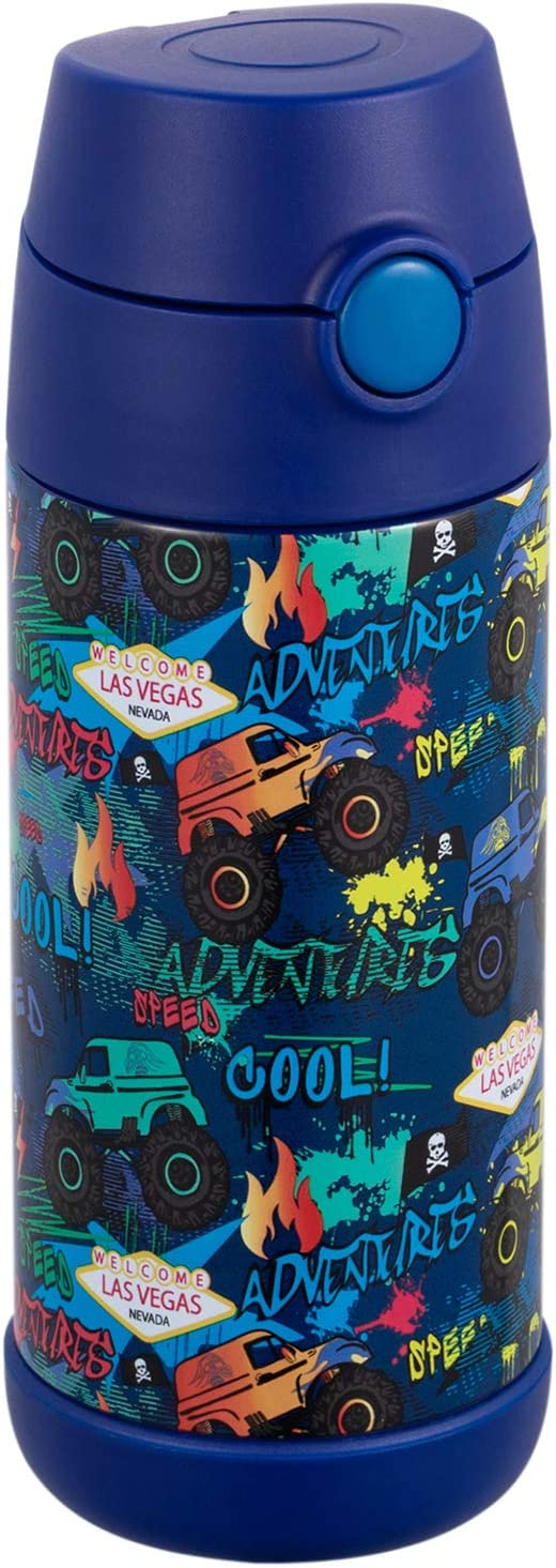 Snug Flask for Kids - Vacuum Insulated Water Bottle with Straw (Monster Trucks, 12oz)