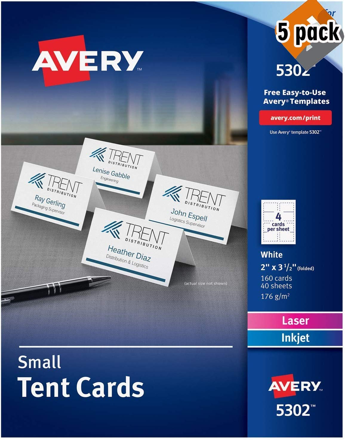 Avery Place Cards, Laser & Inkjet Printers, 160 Printable Cards, 2 x 3.5 (5302), White - 5 Pack by AVERY